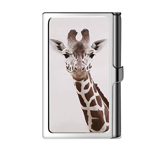 Male Giraffes - Joysad Business Credit Card Case, Acrylic ID Holder With Magnetic Closure for Women and Men - Giraffe