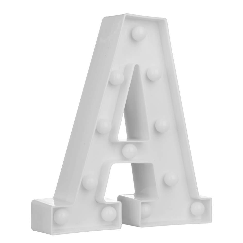 Widewing Las Letras de la Luz de la Noche de la Luz de la Noche de las Letras 3D LED Adornan las Luces Decorativas del Alfabeto (C)