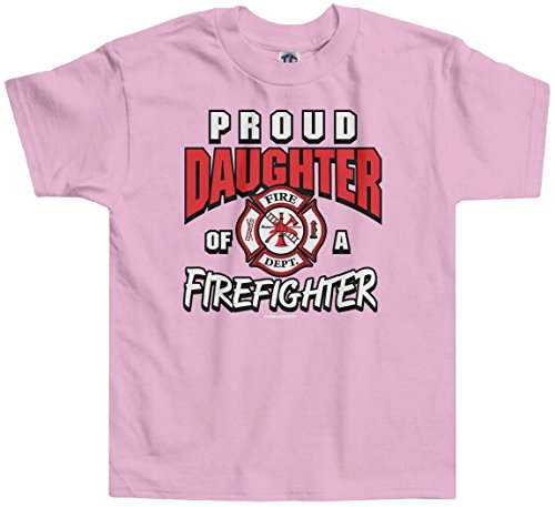 Threadrock Little Girls' Proud Daughter of a Firefighter Toddler T-Shirt 2T Pink