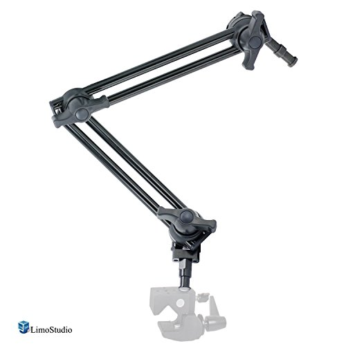 LimoStudio 12 to 24 inch Articulating Sliding Magic Arm, 360 Degree Rotation & Swivel Arms with 5/8 and 3/8 inch Stud Single Female Threaded Socket for Video Lights and Photography Equipment, AGG2496 by LimoStudio