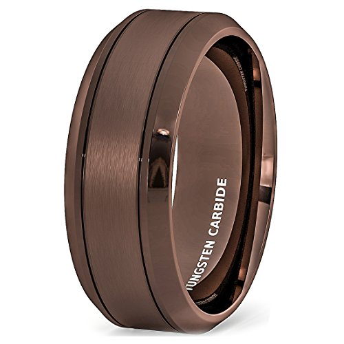 Duke Collections Mens Wedding Band Rare Brown Tungsten Ring Wire Brushed Brushed Comfort Fit (10) ()
