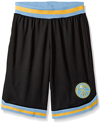 fan products of NBA Men's Denver Nuggets Mesh Basketball Shorts Woven Active Basic, Large, Black