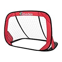 Kidseden 4FT Square Soccer Goal with Carrying Bag Practice Foldable Children Pop-Up Play Goal for Outdoors Portable Training Sports Gift Idea for Kids