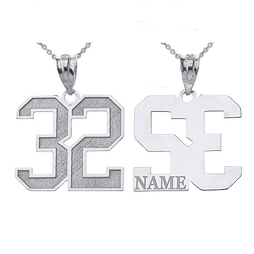 Sports Number Necklace (Personalized Your Lucky Number and Name Sports Jersey Silver Pendant Necklace,)