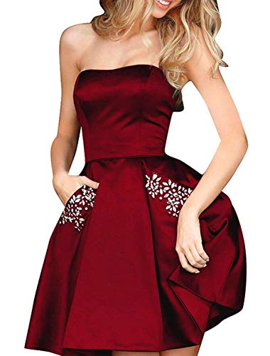 TTYbridal Strapless Beaded Homecoming Dresses Short Satin Cocktail Prom Gown with Pockets 6 Burgundy