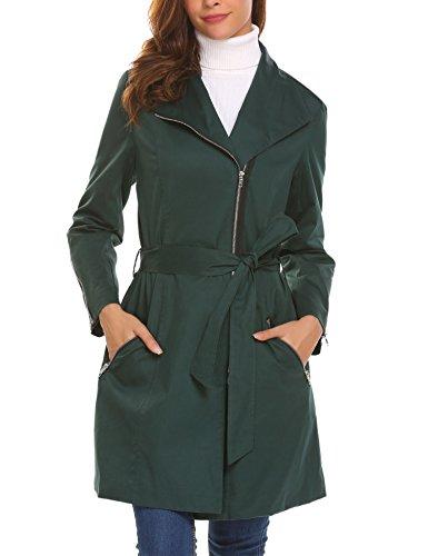 Mofavor Women's Lapel Zipper Long Trench Coat Outerwear Jacket Olive Green L (Trench Zipper)