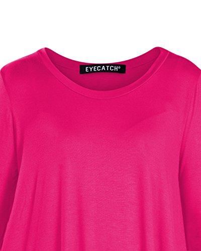 Aux Eyecatch Hauts Chemisier 3 T vas Shirt 4 Femmes Manche Dames Rond Fuschia Col Tunique Reva OOrqwU
