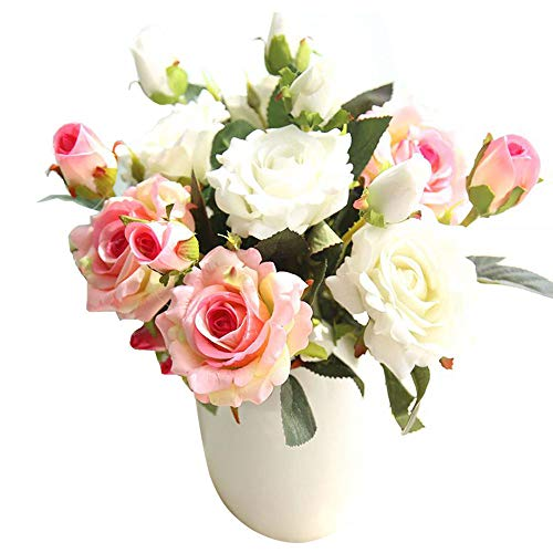 CQURE Artificial Flowers, Fake Flowers Silk 9 Heads Roses Bouquets Gifts Wedding Party Kitchen Home Decor (Pink-White)