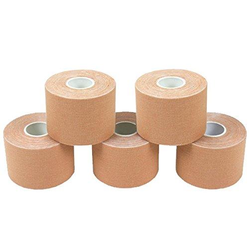 5 Rollen Kinesiologie Tape 5 m x 5,0 cm in 11 Farben, Farbe:hautfarben