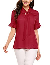 Meaneor Women Casual Bow Tie Neck Chiffon Blouse Tops Bell Sleeve Shirt