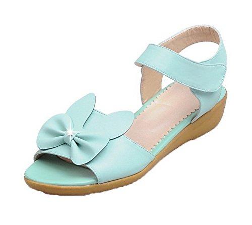 Sandales Clair Femme Bleu Agoolar Pu Velcro Bas Ouverture Talon Cuir D'orteil 8wUvqHB
