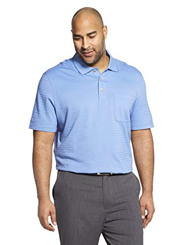 Van Heusen Men's Flex Short Sleeve Stretch Stripe Polo Shirt, Crisp Blue, XX-Large ()