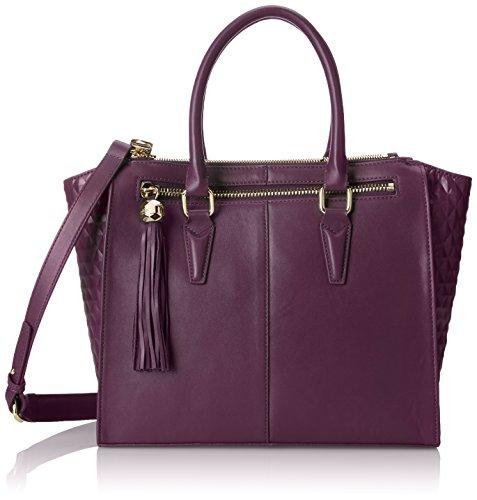 Dolce Vita Glazed Leather Satchel Tote Bag, Plum, One Size