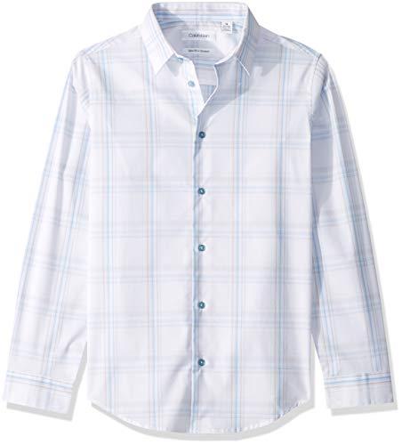 Calvin Klein Big Boys' Long Sleeve Plaid Button-Down Dress Shirt, Windowpane White, 14