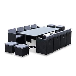 Salon de Jardin 8-12 Places – Vabo – Coloris Noir, Coussins Gris, Table encastrable