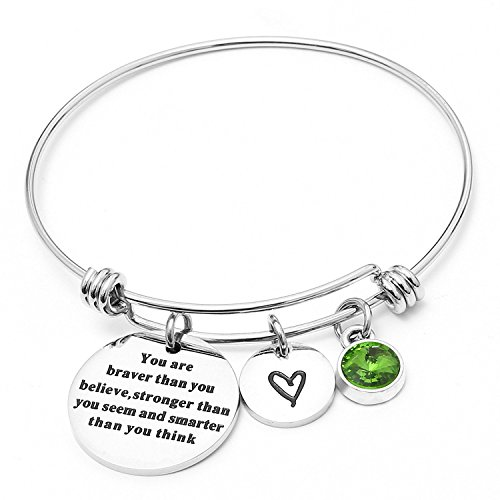 Angel's Draw Home You Are Braver than You Believe Adjustable Bangle Bracelets With 12 Months Color Birthstone for Women Girls Gift (Peridot- August) (Birthstone August Charm Boy)