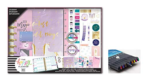 me & My Big Ideas Create 365 The Happy Planner, Medium/Classic Student Box Edition: Magical Things, 12 Month Planner, Aug 2019 - July 2020 Comes with Kemah Craft Fineliner 10 Pc Color Pens (Box-210)