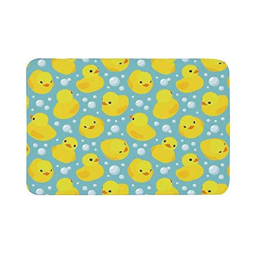 - C COABALLA Nursery Durable Door Mat,Cute Happy Rubber Duck and Bubbles Cartoon Pattern Childhood Kids Theme Art for Living Room,15.7