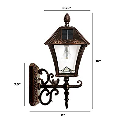 "GAMA SONIC Baytown Bulb Solar Lamp, 3"" Fitter Mounts for Wall Post Pier, Brushed Bronze GS-106B-FPW"