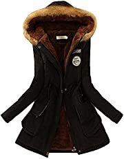 KINDOYO Ladies Coats - Warm Winter Parkas Jacket Faux Fur Lined Overcoats - 15 Colors Available