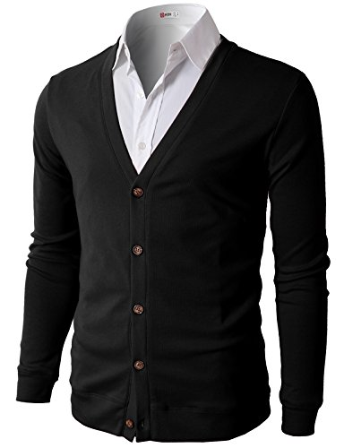 H2H Mens Button Down V Neck Cardigans Black US L/Asia XL (CMOCAL012) (V-neck Men Sweaters Cardigans)