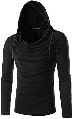 Whatlees Herren regular fit leicht Langarme Kapuzenpullover aus weicher Sweatstoff B093-Black-XL