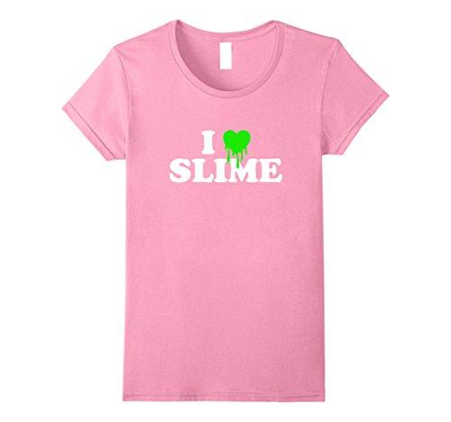 (Womens I Love Heart Slime Pink T Shirt - Funny DYI Goo Trend Tee Small Pink)
