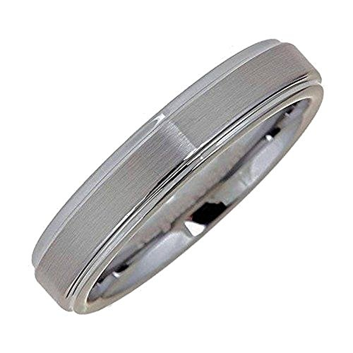5 Band Brushed Mm - Tungsten Carbide Brushed Wedding Ring Recessed edge 5mm Size 7