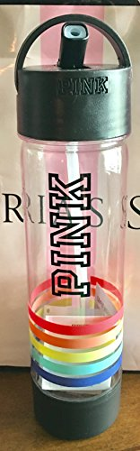 VICTORIA SECRET PINK WATER BOTTLE BEACH STRIPED RAINBOW - SOLD OUT ON - LINE