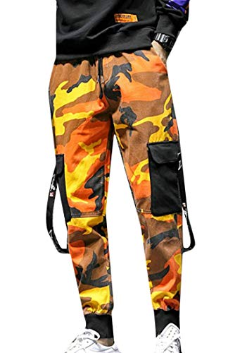 Frieed Mens Camo Print Hip-hop Outdoor Multi Pockets Jogger Cargo Pants Orange XL by Frieed