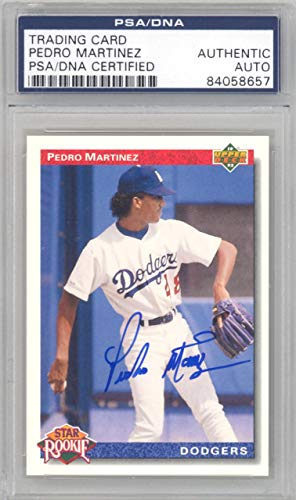 - Pedro Martinez Autographed 1992 Upper Deck Rookie Card #18 Red Sox, Dodgers Stock #129047 - PSA/DNA Certified