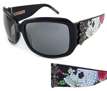 Amazon.com: Ed Hardy anteojos de sol Ehs 001 Skull & Roses ...