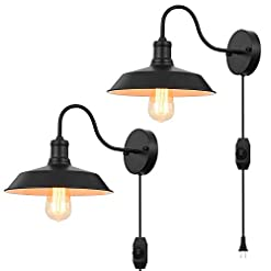 Farmhouse Wall Sconces Black Gooseneck Plug in Wall Light Fixture with 5.9 Ft Cord and Dimmable Switch Wall Lamp Industrial Vintage Farmhouse… farmhouse wall sconces