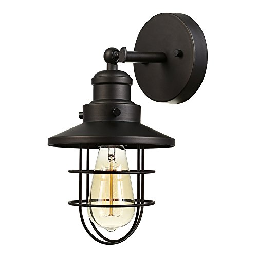 (Globe Electric Beaufort 1-Light Wall Sconce, Oil Rubbed Bronze Finish, Removable Cage Shade, 59123)