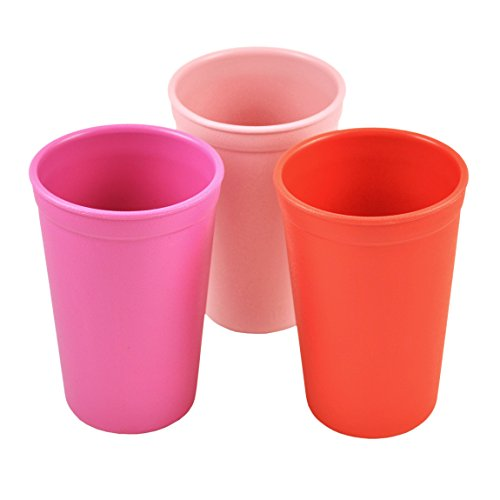 Re-Play Made in the USA 3pk Drinking Cups for Baby and Toddler - Bright Pink, Baby Pink, Red (Valentine)