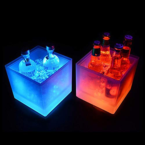 Eimer f/ür KTV Party Bier Getr/änke 3,5 l Bar quadratisch f/ür Champagner LED-K/ühler Weine Zuhause Hochzeit doppelschichtig Volwco Eisk/übel mit Farbwechsel