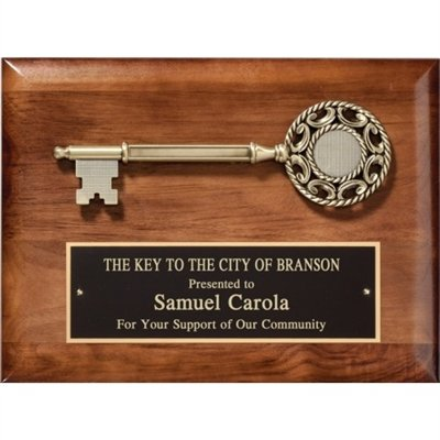 Walnut Gold Cast Key Plaque 8