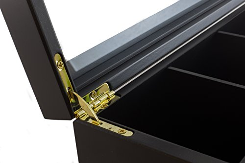 The Bamboo Leaf Luxury Wooden Tea Box Storage Chest, 8 Compartments w/Glass Window (Black) by The Bamboo Leaf (Image #3)