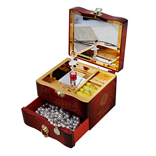 Wind-up Toys for Kids - Girl Retro Wonderful Dressing Box with Music Box Home Decor Toys - for Kids Children's Day Best Gift ( Brown)]()