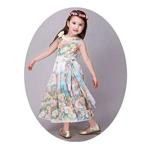 Kids Girls Long Dresses - Summmer Toddler Child Wedding Pageant Party Princess Dress - Sleeveless Floral Printed Baby Children Dresses for Formal Birthday Sunny Holiday (6-7Years/6T/130CM, Pink) (Gorgeous Pleated Dress)