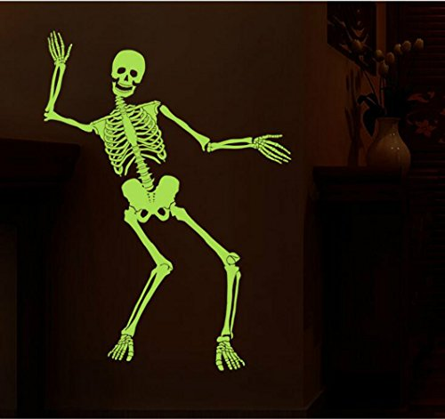 OriginEco Halloween Noctilucent Skeleton Wall Sticker Mural Decorations for Baby Kids 2 PACKS