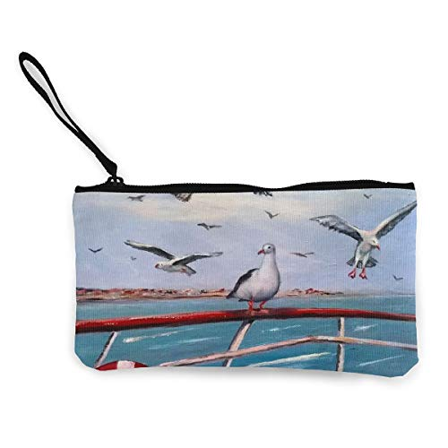 Oomato Canvas Coin Purse Seagull Cheryl Lifebuoy Cosmetic Makeup Storage Wallet Clutch Purse Pencil Bag -