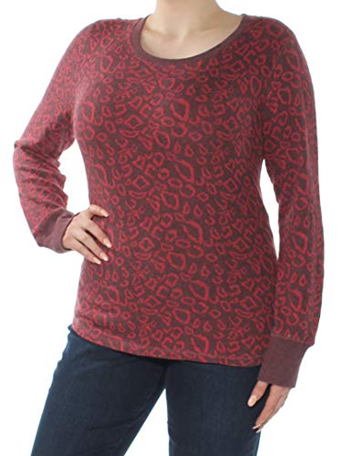 Lucky Brand Women's Cheetah Print Pullover Red Multi X-Large