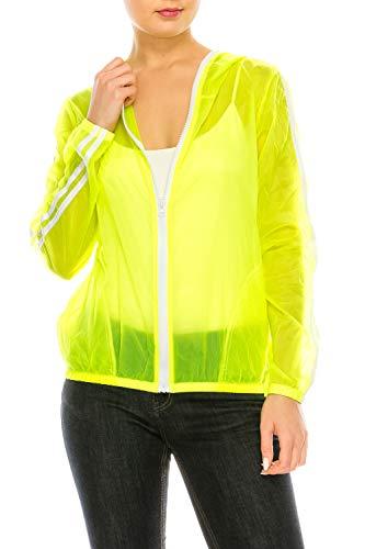 Neon Windbreaker - Lightweight Casual Hooded Neon Windbreaker Jacket   Sun Protection   Packable and Portable (Neon, Small/Medium)
