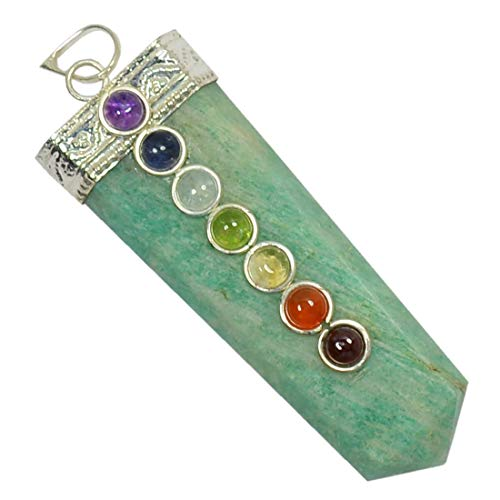 Reiki Crystal Products Amazonite with 7 Chakra Beads Pendant Natural Stone for Reiki Healing and Meditation, Protection, Concentration, Spirituality