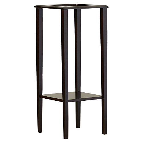 Indoor Plant Stand, Wood Pedestal Telephone Table, Square Contemporary End Table With Bottom Storage Shelf, Brown Finish by Simple Living Products (Image #1)'