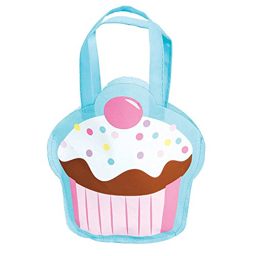 Fun Express Small Cupcake Tote Bags | 12 Count | Great for Dessert Themed Birthday Party, Baby Shower, Prizes & Favors, Reusable Goodie Gift Bags