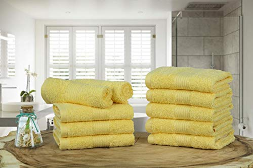 Ample Decor Classic 10 Piece Luxury Washcloth Towel Set High Absorbent, Soft and Thick Quick Dry Washcloths Made with 100% Cotton - Yellow (Pack of 10, 12 X 12 Inch)