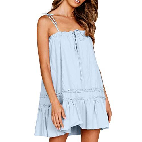 ⚡HebeTop⚡ Mini Sundresses for Women Casual, Loose Sundresses, Sleeveless Sling Summer Dress Blue