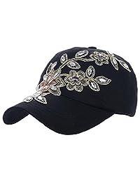 Ukerdo Jeans Hats for Women Rhinestone Baseball Cap Flower Lady Summer Hat